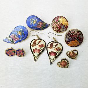5 Pr Cloisonne Floral Hearts Butterfly Earrings